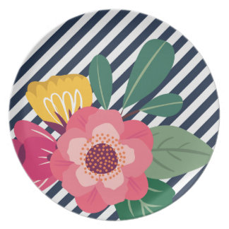 Striped Floral Plate