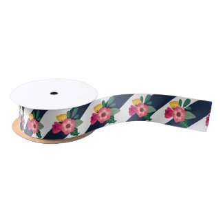 Striped Floral Ribbon Satin Ribbon