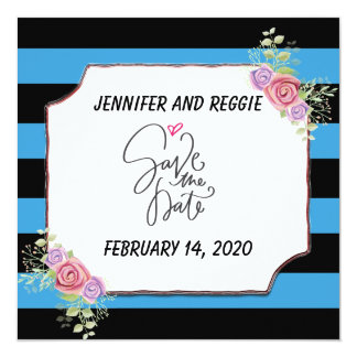 Striped Floral Save the Date Card