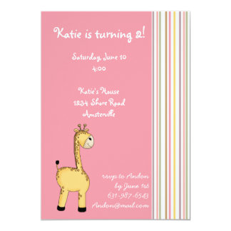 Striped Giraffe Pink Invitation.. Card