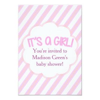 Striped Girl Baby Shower Invitation Card