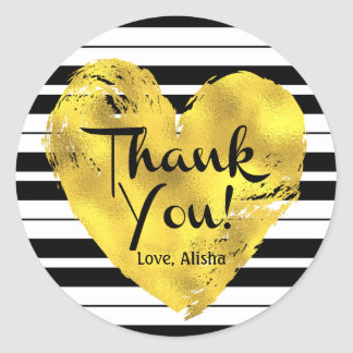 Striped, Gold Heart Thank You Round Sticker