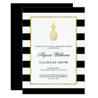 Striped Golden Pineapple Tropical Birthday Party Card