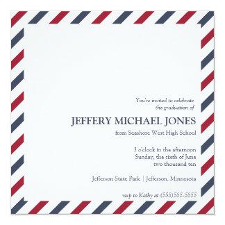 """Striped Graduation Announcement Template 5.25"""" Square Invitation Card"""