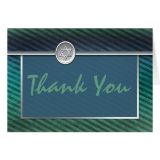 Striped Green and Blue Bar Mitzvah Thank You Card