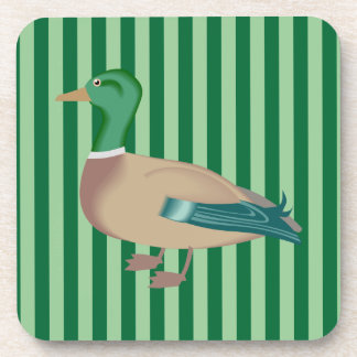Striped Green Duck Coaster Set