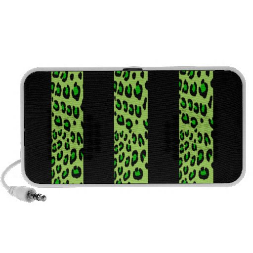 Striped Green Leopard Print Travel Speakers