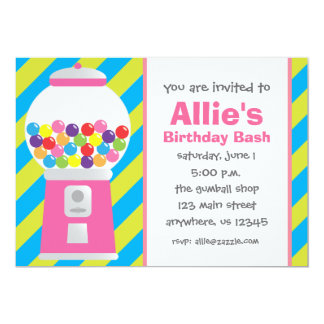 Striped Gumball Machine Invitation