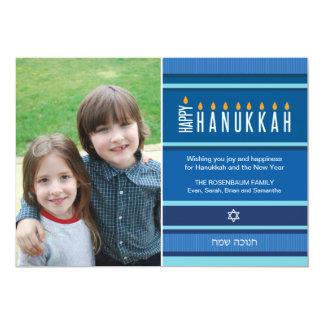 Striped Hanukkah Candles 13 Cm X 18 Cm Invitation Card