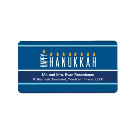 Striped Hanukkah Candles Return Address Address Label