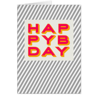 Striped Happy Bday Typography Greeting Card