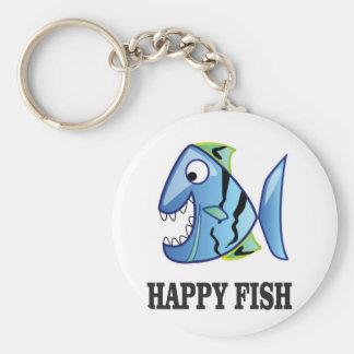striped happy fish key ring