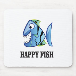 striped happy fish mouse pad