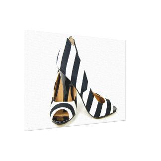 striped high heels on white canvas print