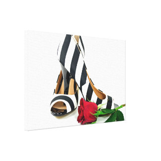 striped high heels with red rose canvas print