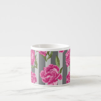 Striped Hot Pink Peony Seamless Pattern Espresso Cup