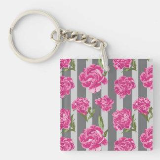 Striped Hot Pink Peony Seamless Pattern Key Ring