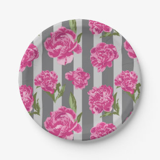 Striped Hot Pink Peony Seamless Pattern Paper Plate