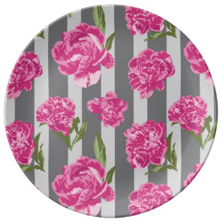 Striped Hot Pink Peony Seamless Pattern Porcelain Plates
