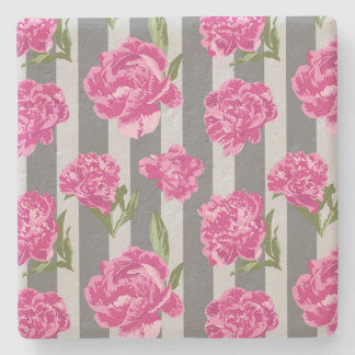 Striped Hot Pink Peony Seamless Pattern Stone Coaster