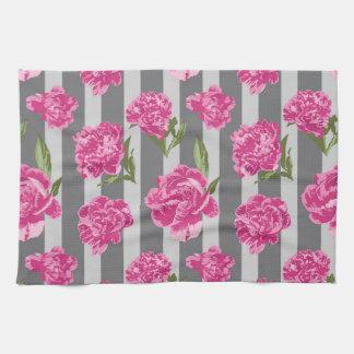 Striped Hot Pink Peony Seamless Pattern Tea Towel