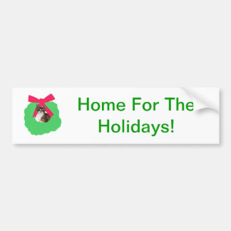 Striped Kitten Holiday Christmas Wreath Bumper Sticker
