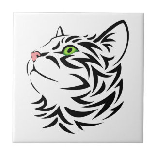 Striped Kitty Cat 3 Small Square Tile