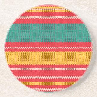 Striped Knitting Background Coaster