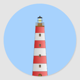Striped Lighthouse Classic Round Sticker