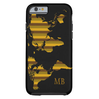 striped map of world with initials tough iPhone 6 case