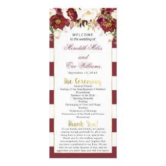 Striped Marsala Floral Wedding Ceremony Program Rack Card