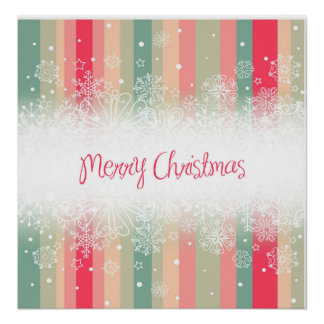 Striped Merry Christmas Holiday Design Print