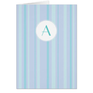 Striped Monogram - Blue & Lilac Card