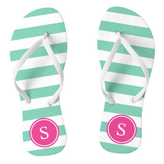 Striped Monogram in Sea Foam & Pink Thongs