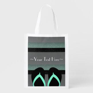 Striped Monogram Sea Mint Green Reusable Shop Bag