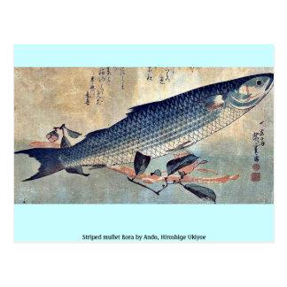 Striped mullet Bora by Ando, Hiroshige Ukiyoe Postcards