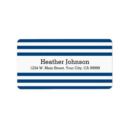 Striped Nautical Navy Blue Return Address Labels