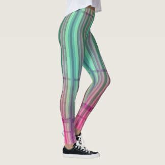 Striped New Tartan Aqua Pink Leggings 2