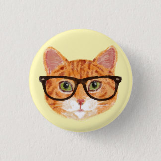 Striped Orange Hipster Cat Wearing Glasses 3 Cm Round Badge