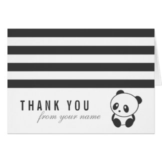 Striped panda thank you card