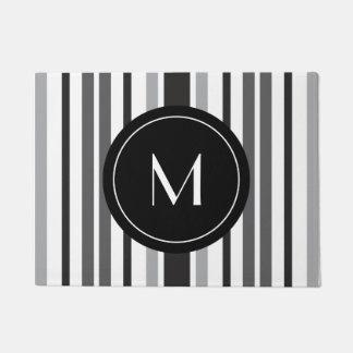 Striped Pattern Grey Black White Custom Monogram Doormat
