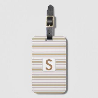 Striped Pattern • Monogram Luggage Tag