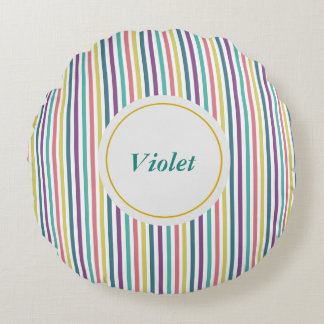 Striped Personalised Name Round Cushion