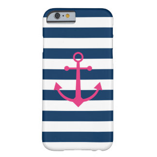 Striped Pink Anchor Barely There iPhone 6 Case