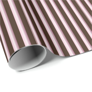 Striped Pink and Brown Line Pattern Wrapping Paper