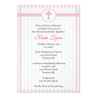 Striped Pink Cross Invitation