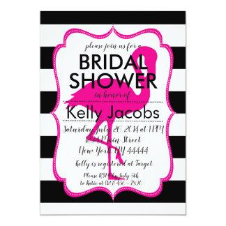 Striped Pink Flamingo Bridal Shower Invitation