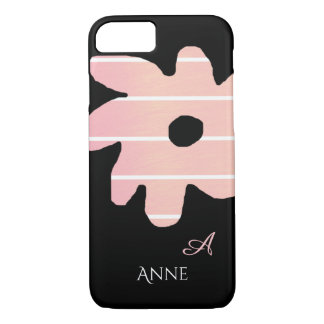 striped pink flower with name & initial iPhone 8/7 case