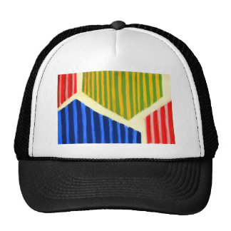 Striped Polygons (geometric expressionism) Cap