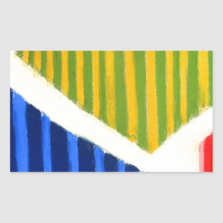 Striped Polygons (geometric expressionism) Rectangular Sticker
